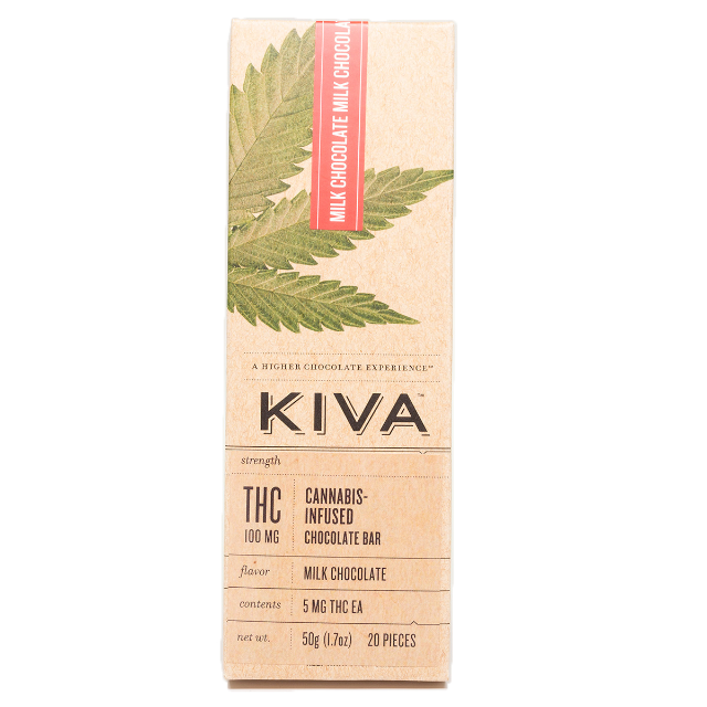 KIVA MILK CHOCOLATE BAR 100MG