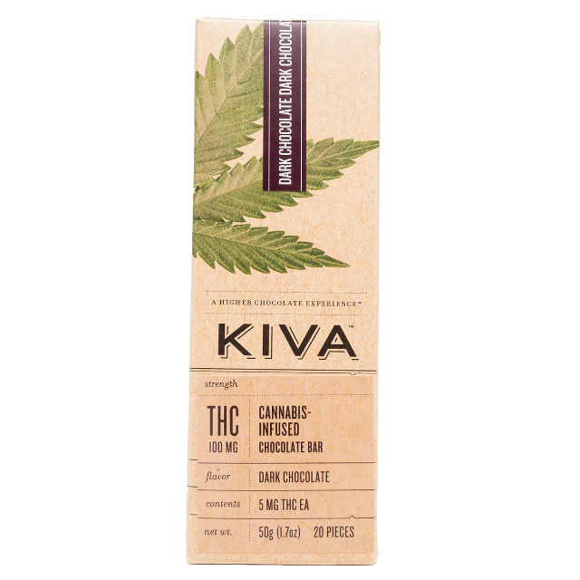 KIVA DARK CHOCOLATE BAR 100MG